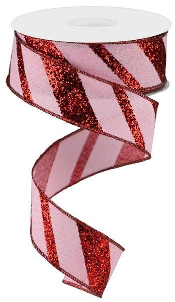 "1.5""X10yd Diagonal Glitter On Royal Light Pink/Red"