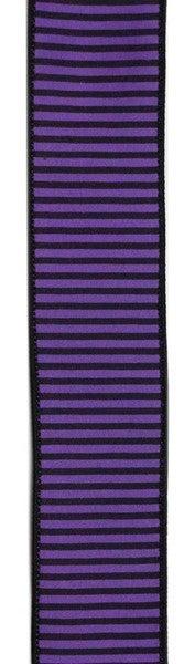 """1.5""""X10yd Horizontal Thin Stripes On Pg Purple/Black"""