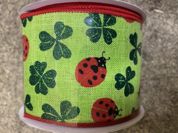 """2.5""""X10yd Ladybug/Glitter Shamrock green"""
