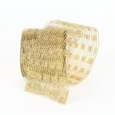 "METALLIC DIAMOND LATTICE - 4""X10YD / GOLD"
