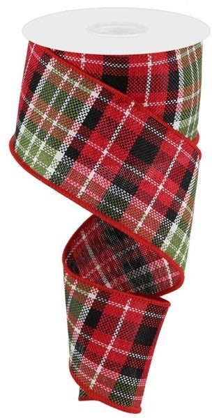 """2.5""""X10yd Woven Plaid Color: Red/Blk/Wht/Moss Grn"""