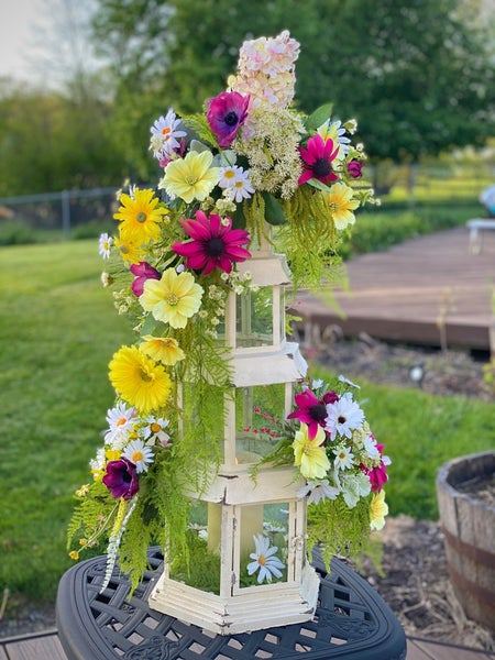 tall lantern  with florals made 5/21
