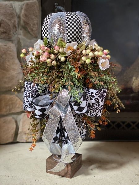 Black and Silver Fall Pumpkin Candlestick