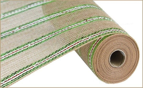 "10.5""X10yd Jute/Pp/Foil/Mesh Color: Natural/Lime/Red/White"