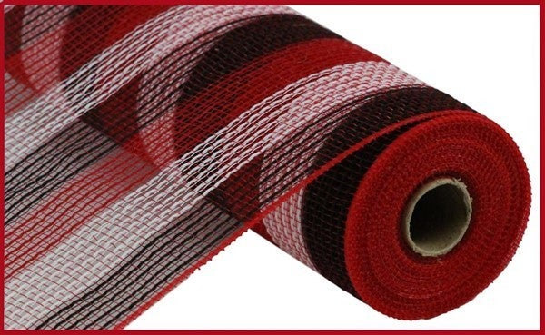 "10.5""X10yd Pp/Faux Jute Small Stripe Red/White/Black"