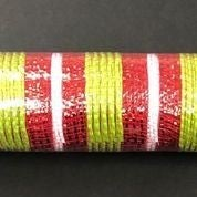 "Lime Fabric Red Metallic White Stripe Mesh 10""x10yd"