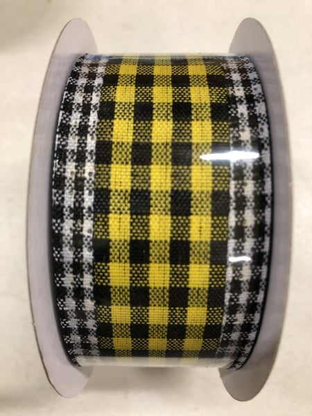 "1.5""X10yd Gingham Check/Edge Yellow/Black/White"