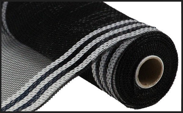 "10.25""X10yd Border Stripe Metallic Mesh Black/White"