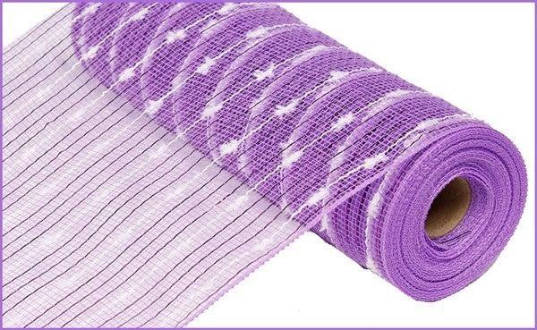 """10.5""""X10yd Metallic Cotton Ball Mesh Lavender/White"""