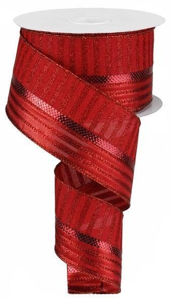 """2.5""""X10yd Metallic/Glitter Stripes Red"""