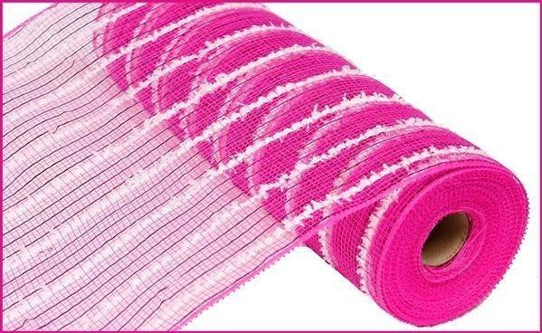 "10.5""X10yd Metallic Cotton Drift Mesh Hot Pink/White"