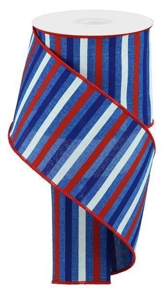 "4""X10yd Horizontal Stripe On Royal Royal Blue/Red/Blue/White"