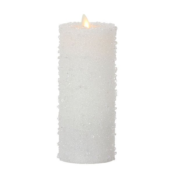 "3"" X 8"" Moving Flame Iced White Pillar Candle"