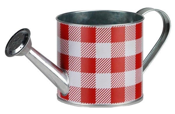 "4.75""Dia X 10.5""L Check Watering Can Red/White"