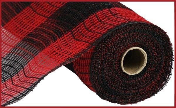 """10.5""""X10yd Faux Jute/Pp Large Check Red/Black"""