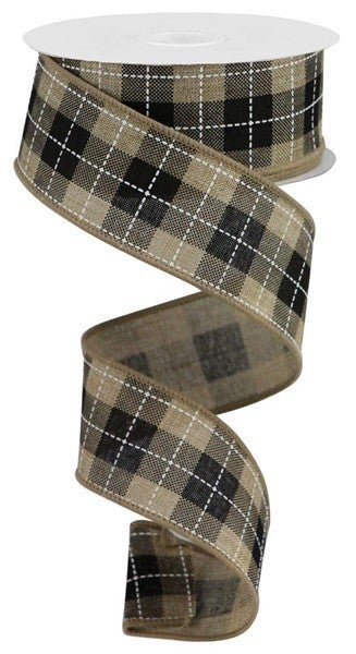 """1.5""""X10yd Printed Woven Check On Royal Light Beige"""