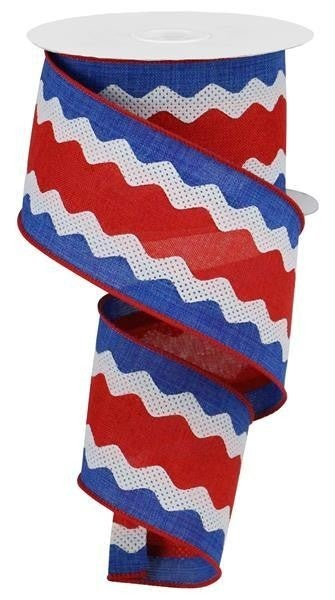 """2.5""""X10yd 3-In-1 Ricrac On Royal Burlap Red/White/Blue"""
