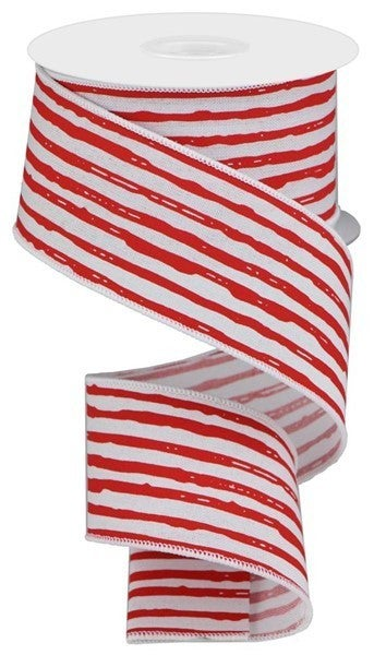 "2.5""X10yd Irregular Stripes On Royal White/Red"