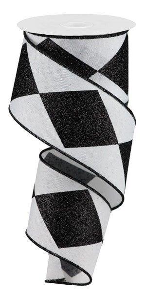"2.5""X10yd Bold Harlequin/Faux Royal Black/White"