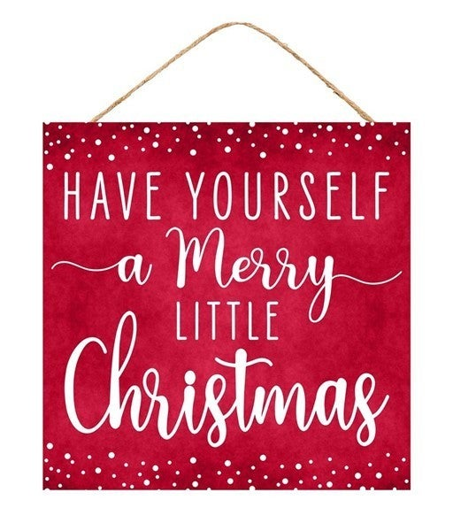 """10""""Sq Merry Little Christmas Sign Red/White"""