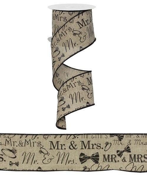 "2.5""X10yd Mr. & Mrs./Royal Beige/Black"