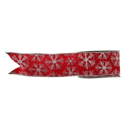 """2.5"""" X 10 YDS SNOWFLAKE WIRED RIBBON"""