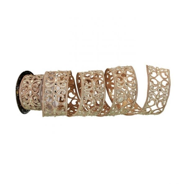 "2.5""X5Y EMBROID CUTOUT JEWEL SCROLL RIBBON (CHAMPAGNE GOLD)"