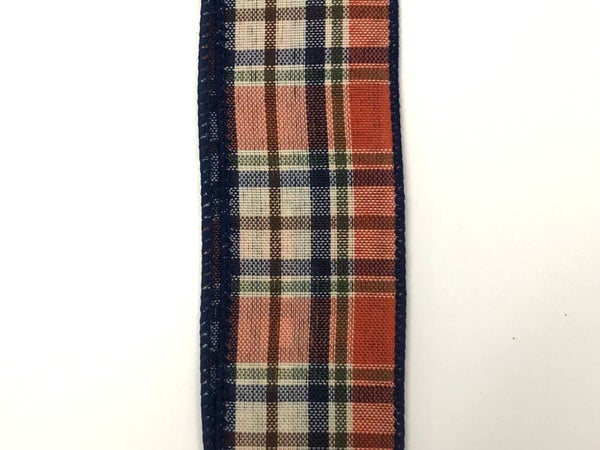 "Dk Orange-Moss-Cream-Navy Plaid 1.5""x10yd"