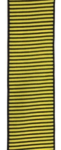"2.5""X10yd Horizontal Thin Stripes On Pg Yellow/Black"