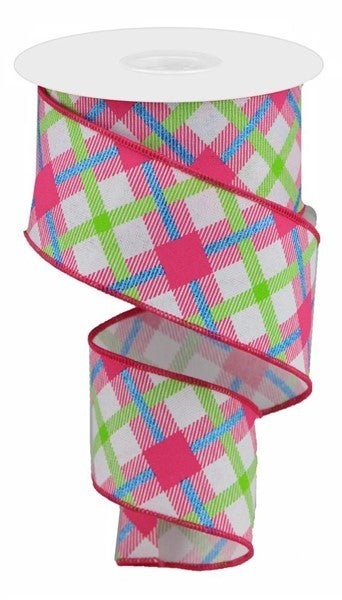 "2.5""X10yd Printed Plaid On Royal Color: White/Lime/Hot Pink/Blue"