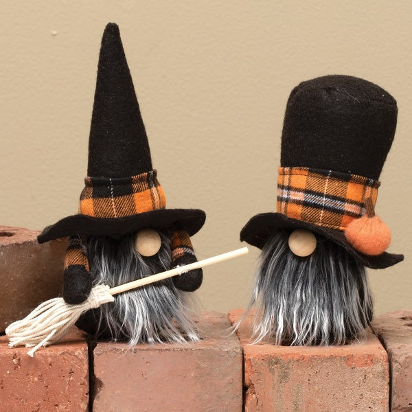 WITCH & WARLOCK GNOME WITH ORANGE PLAID, WOOD NOSE & GREY BEARD