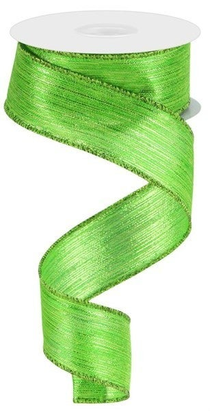 "1.5""X10yd Vertical Metallic Stripe Lime Green"