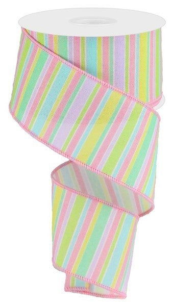 "2.5""X10yd Horizontal Stripe On Royal Pastel"