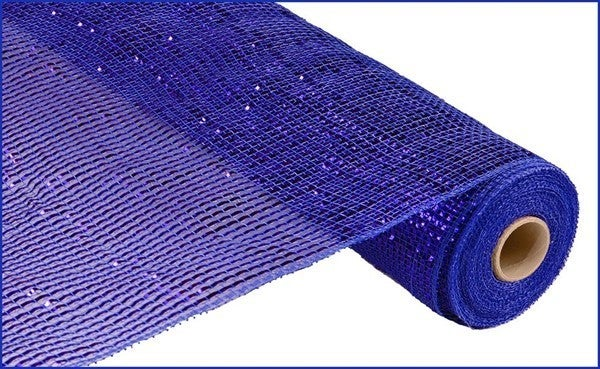 "21""X10YD DELUXE WIDE FOIL MESH Color: Royal Blue W/Blue Foil"