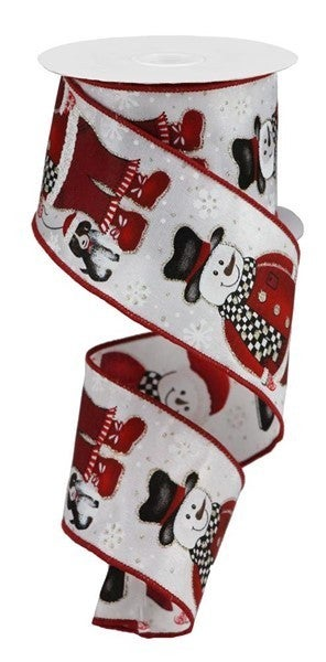 """2.5""""X10yd Santa Snowman W/Dog Color: White/Blk/Red/Org/Brn"""