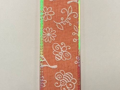 "CORAL LINEN/WHT-IRID FLWRS-BEES, 1.5""X10Y"
