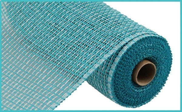 """10""""X10YD MULTI POLY BURLAP MESH Color: Turquoise/White"""