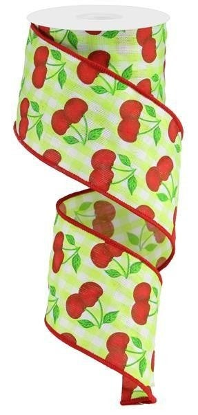"""2.5""""X10yd Cherries On Gingham Check Lime/White/Red/Green"""