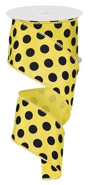 "2.5""X10yd Large Polka Dot Yellow/Black"