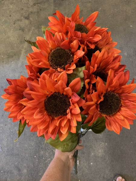 flame red sunflower bouquet