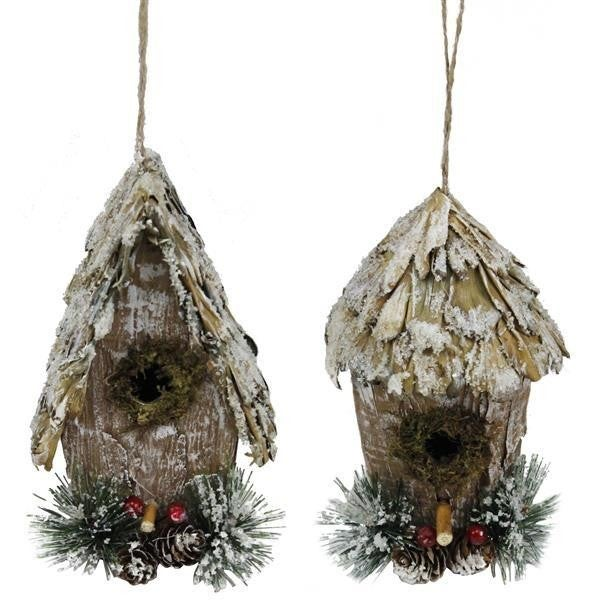 "6.76""H Iced Bird House Ornament Set of 2"