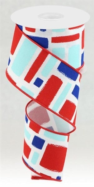 "2.5""X10yd Bold Brush Strokes/Faux Royal Color: Wht/Red/Lt Blue/Blue"