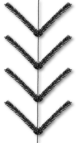 9' Pencil Work Garland X22 Ties Metallic Black