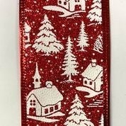 "Red Glitter/White Christmas Snowy Houses 2.5""x10yd"