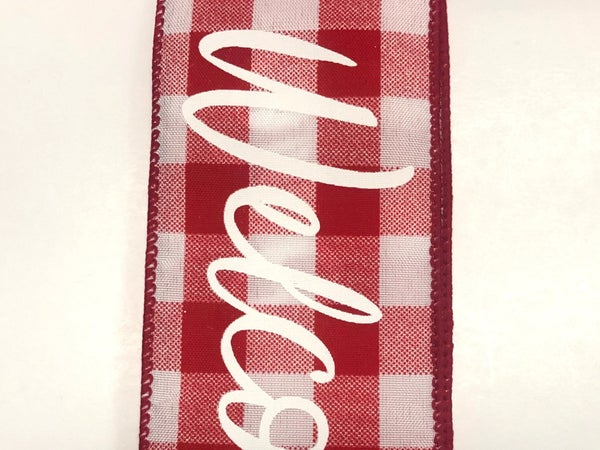 "Red-White Buff Plaid/Welcome 2.5""x10yd"