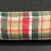 "Natural Hunter Green Red Fabric Plaid Mesh 10""x10yd"