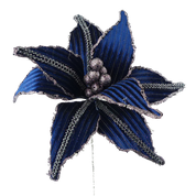 Velvet Rhinestone Poinsettia Pick DIA12xH15  Blue