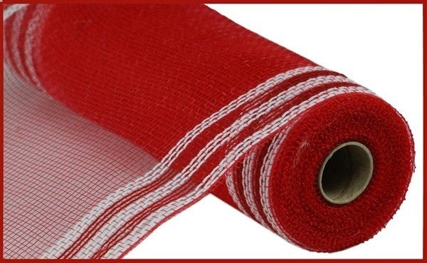 "10.5""X10YD FAUX JUTE/PP/BORDER STRIPE Color: Red/White"