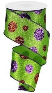 "2.5"" X 10yd, Giant Polka Dots Green Glitter"