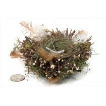 NEST BROWN TWIG/GRN GRASS W/FEATHER 5""